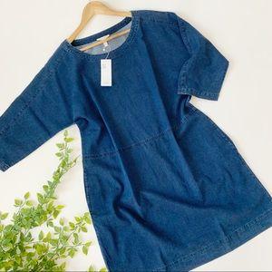 Eileen Fisher Organic Denim Shift Dress Pockets
